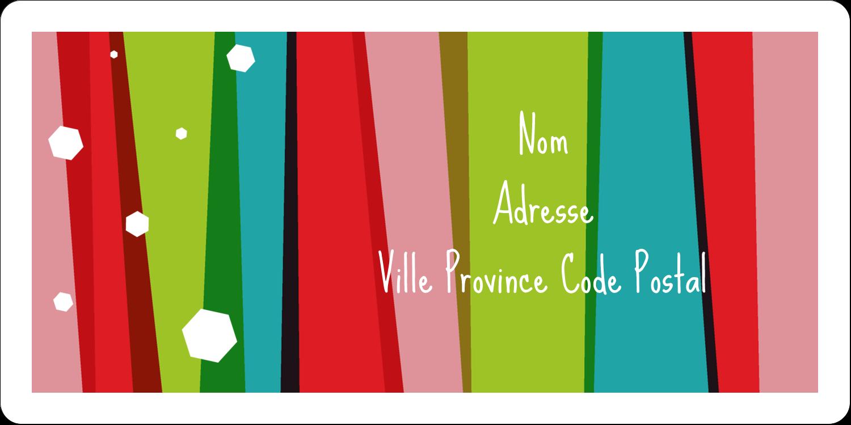 """3-7/16"""" x ⅔"""" Étiquettes de classement écologiques - Rayures de Noël rétro"""