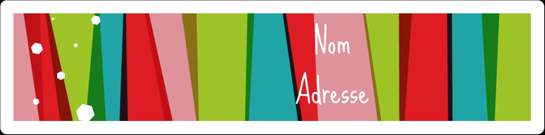 """1⅓"""" x 4"""" Étiquettes d'adresse - Rayures de Noël rétro"""