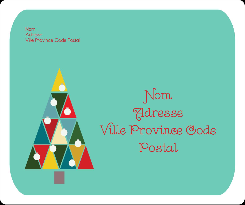"""3⅓"""" x 4"""" Étiquettes d'expéditions - Sapin de Noël en kaléidoscope"""