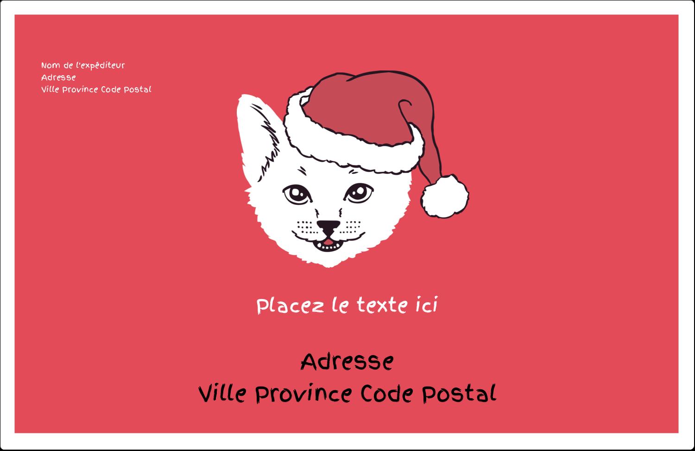 """8½"""" x 5½"""" Étiquettes d'expédition - Chat de Noël"""