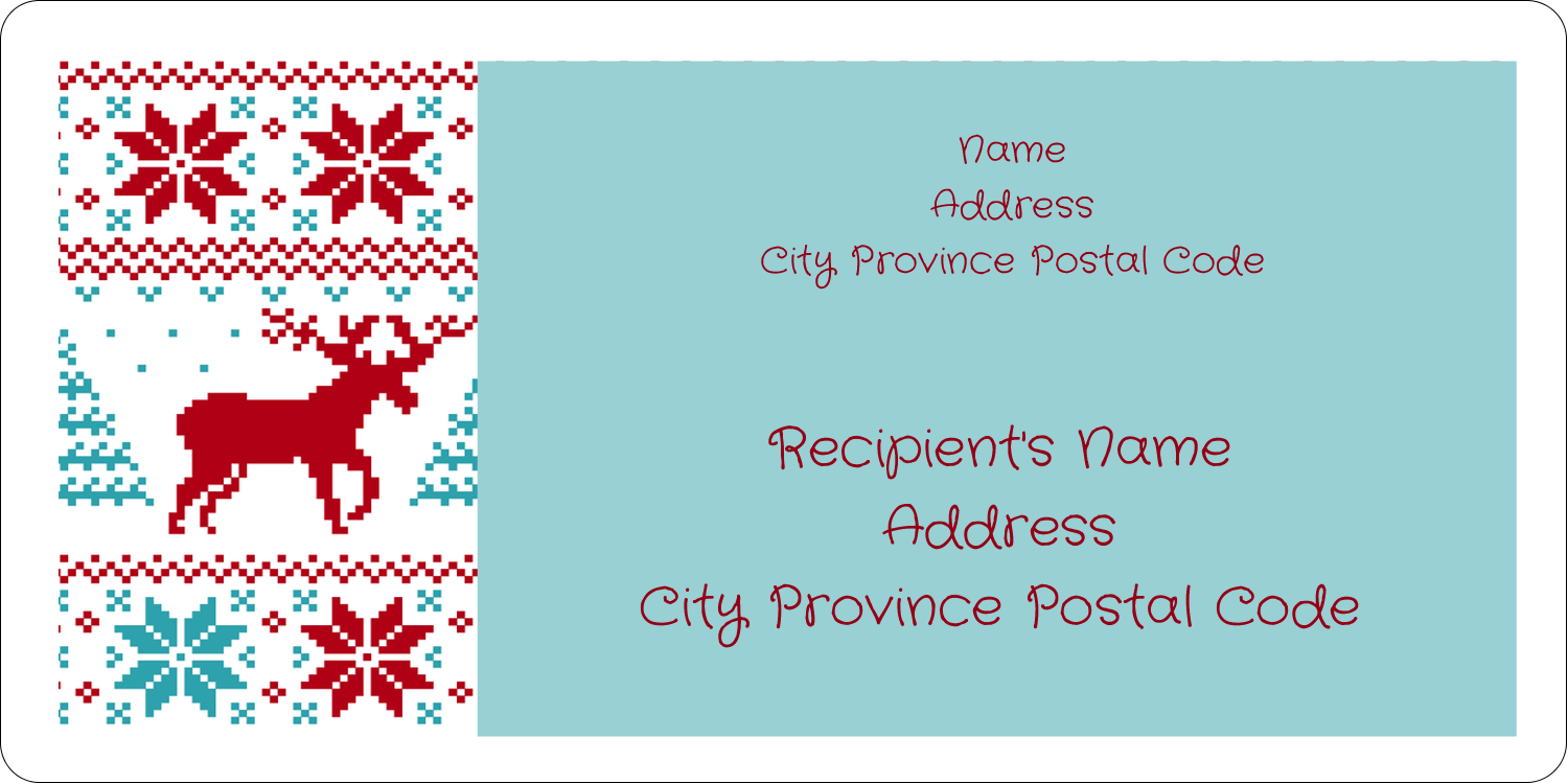 "2"" x 4"" Shipping Label - Poinsettia Sweater"