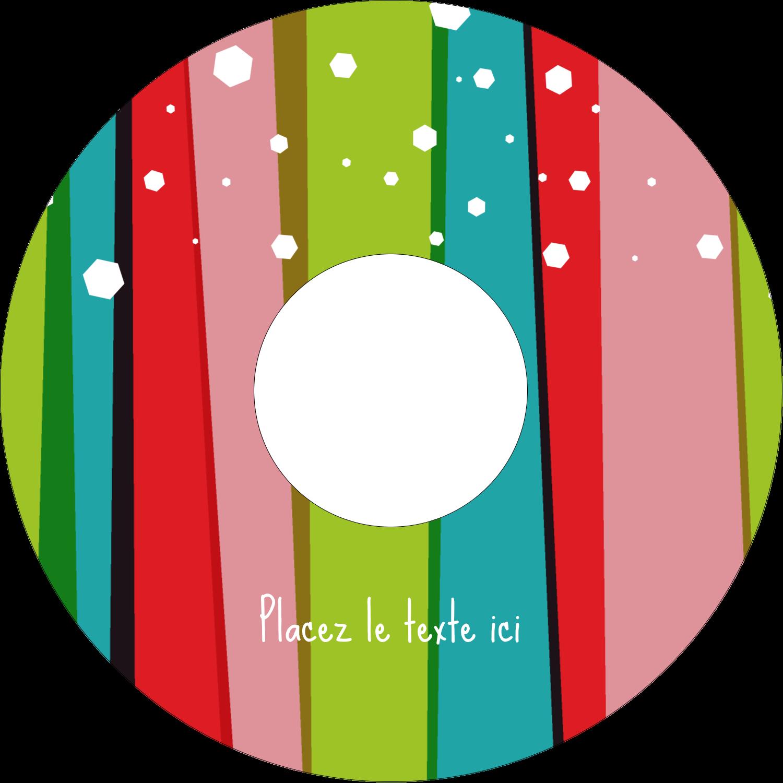 CD/DVD Étiquettes Pour Médias - Rayures de Noël rétro