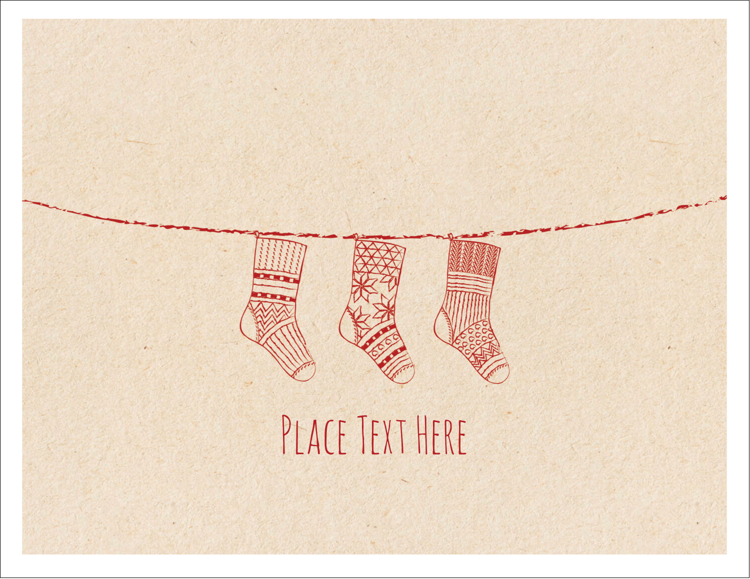 "5½"" x 4¼"" Note Card - Hanging Stockings"