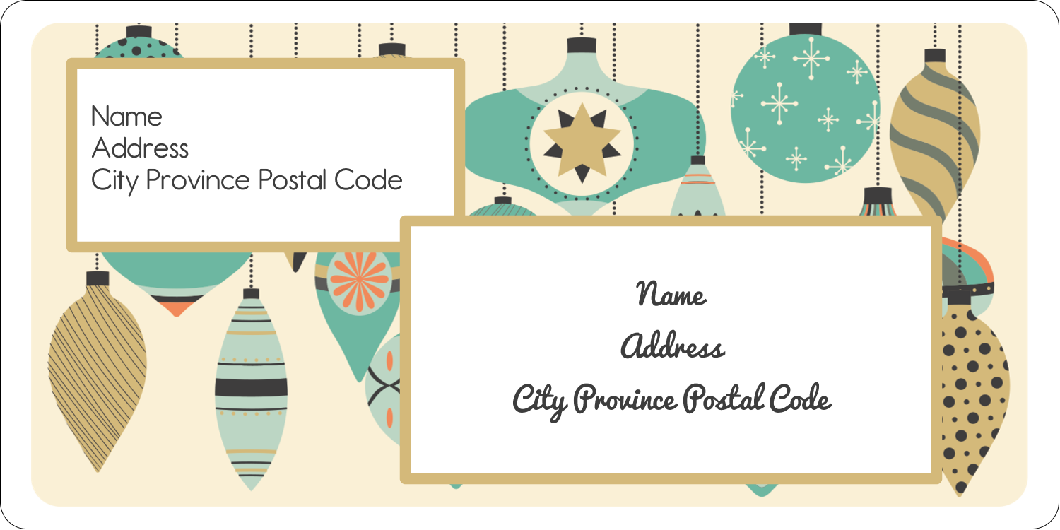 "2"" x 4"" Shipping Label - Ornament Pattern"