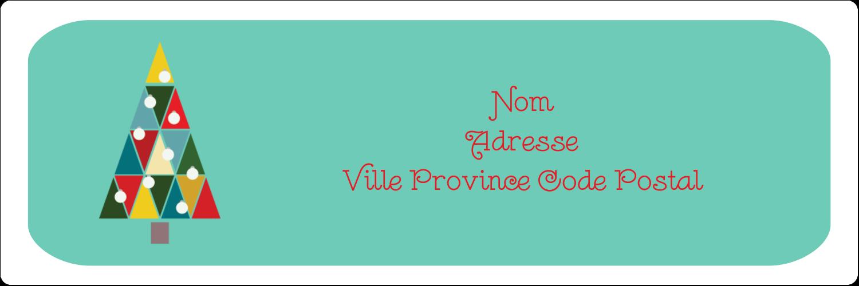 """1⅓"""" x 4"""" Étiquettes D'Adresse - Sapin de Noël en kaléidoscope"""