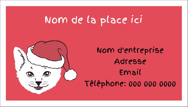"""2"""" x 3½"""" Carte d'affaire - Chat de Noël"""