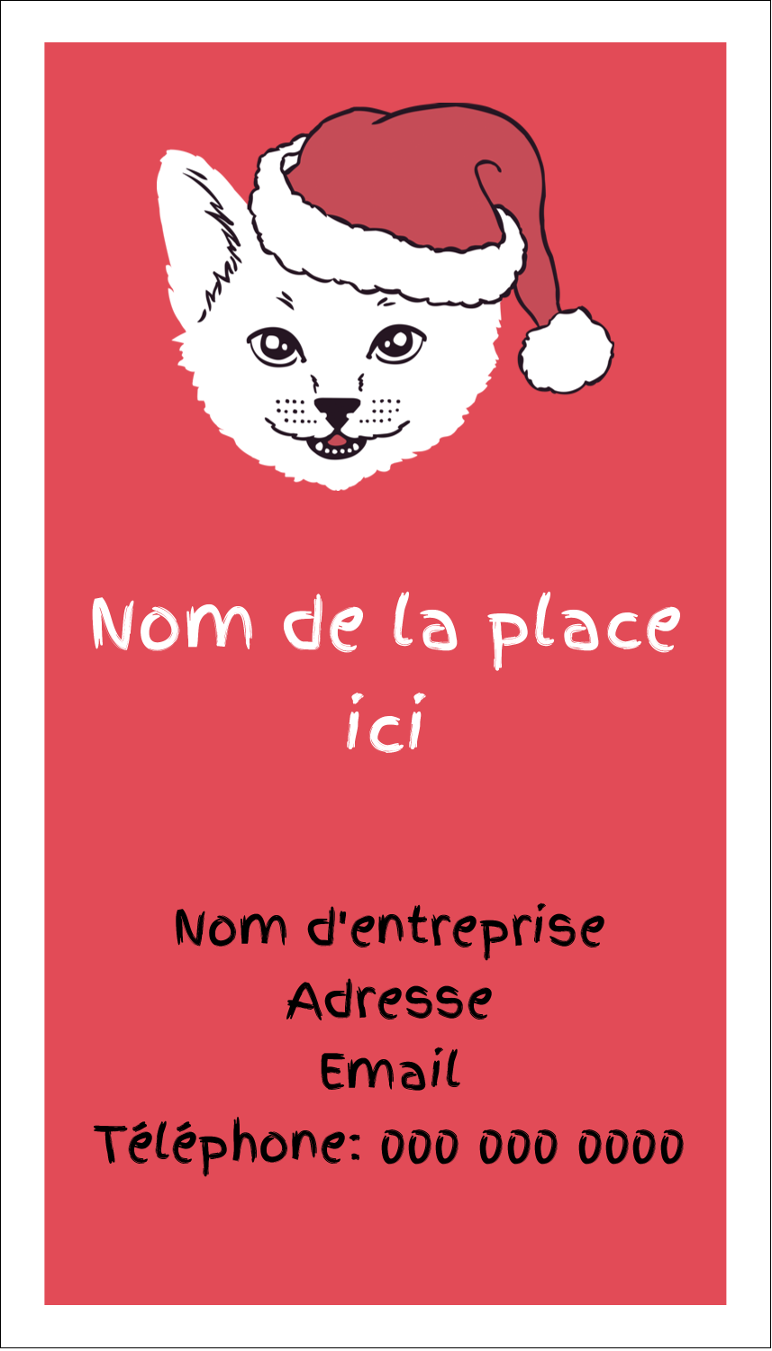 "2"" x 3½"" Carte d'affaire - Chat de Noël"