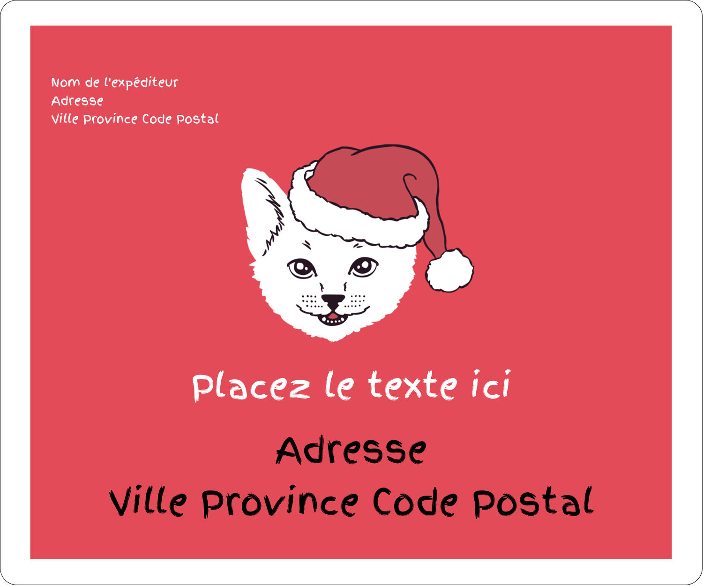 """½"""" x 1¾"""" Étiquettes D'Adresse - Chat de Noël"""