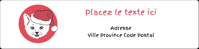 """1⅓"""" x 4"""" Étiquettes d'adresse - Chat de Noël"""