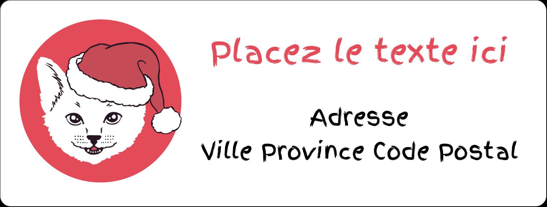 """1"""" x 2⅝"""" Étiquettes d'adresse - Chat de Noël"""