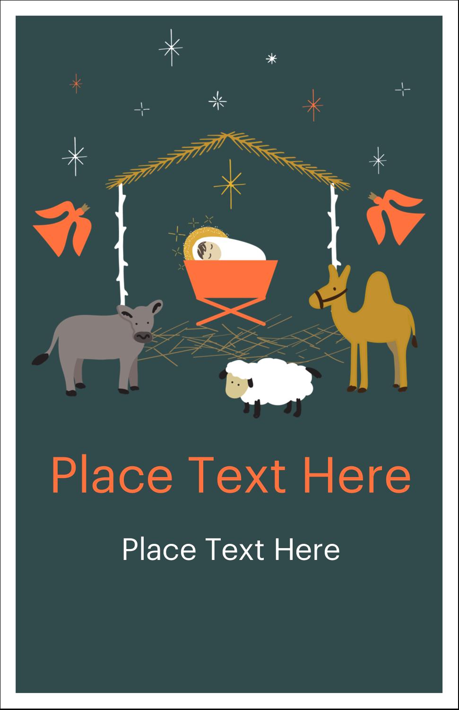 """5"""" x 8½"""" Half Fold Card - Nativity Scene Animals"""