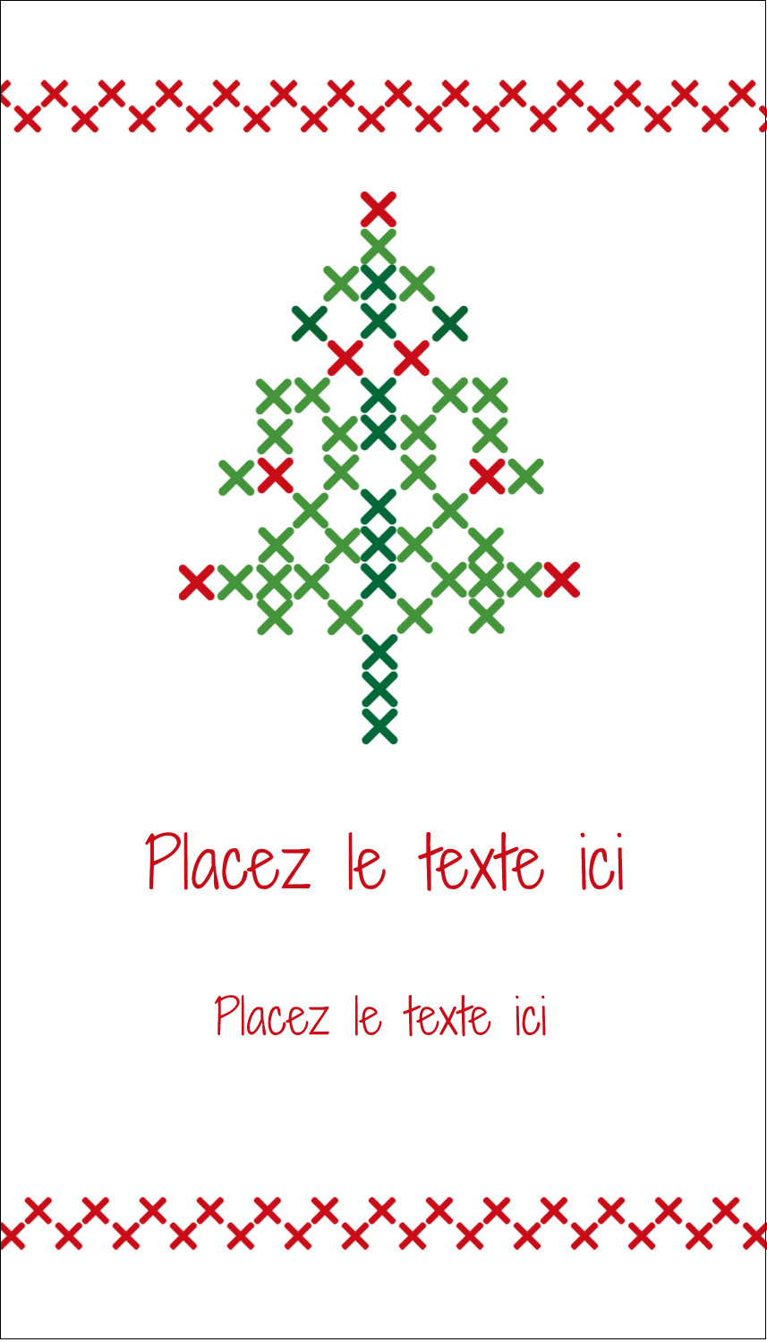 "2"" x 3½"" Carte d'affaire - Sapin en point de croix"