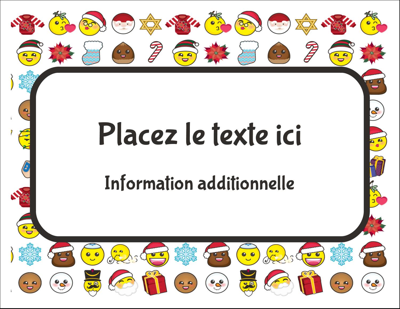 """8½"""" x 11"""" Cartes Et Articles D'Artisanat Imprimables - Émojis des Fêtes"""