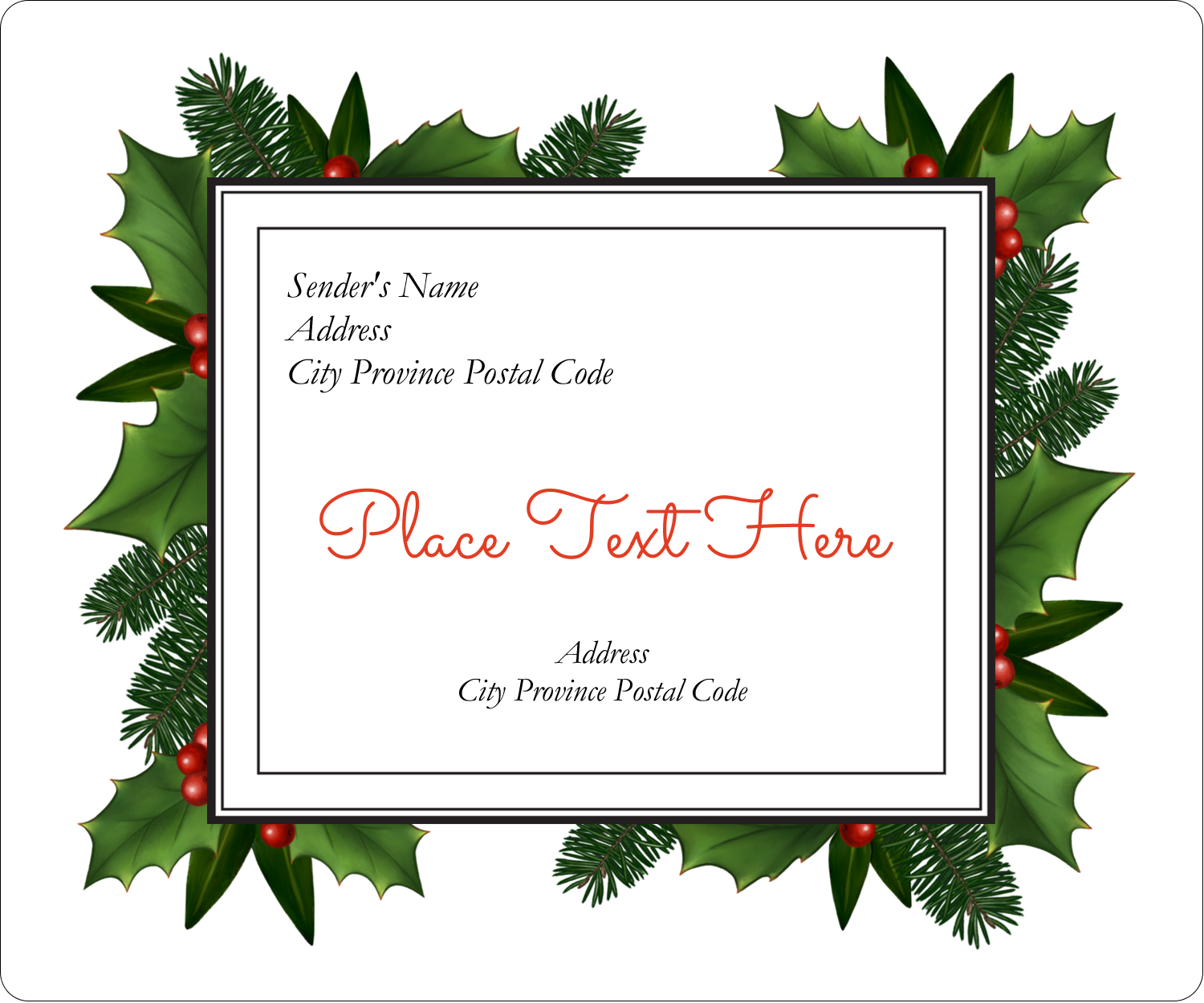 Christmas Floral Border Predesigned Label And Card