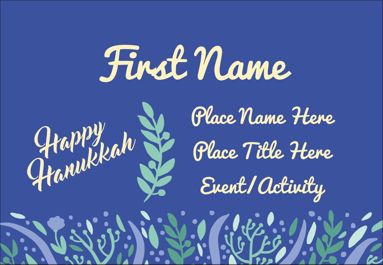 """3⅜"""" x 2⅓"""" Name Badge - Hanukkah Floral"""