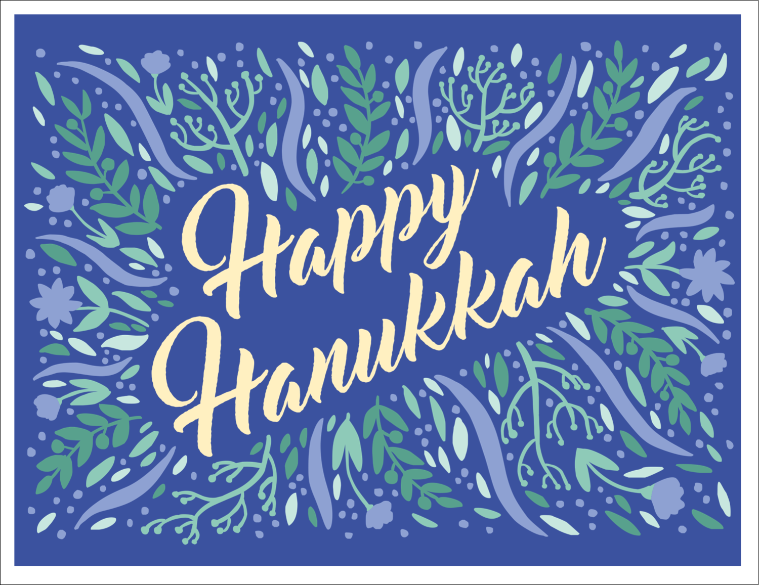 "5½"" x 4¼"" Note Card - Hanukkah Floral"