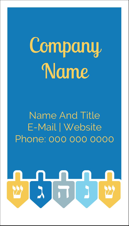 "3½"" x 2"" Business Card - Hanukkah Dreidel"