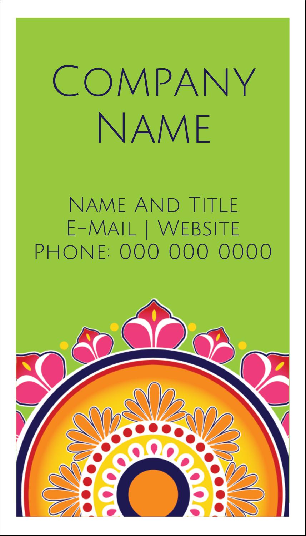 "3½"" x 2"" Business Card - Diwali Rangoli"