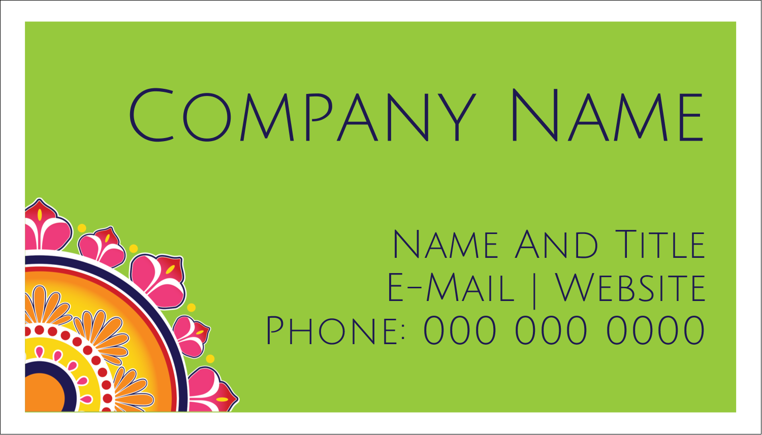 "2"" x 3½"" Business Card - Diwali Rangoli"