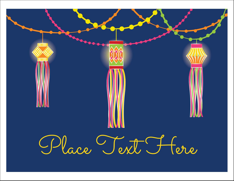 "5½"" x 4¼"" Note Card - Diwali Lanterns"