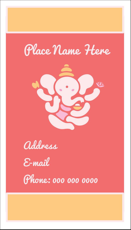 """3½"""" x 2"""" Business Card - Diwali Ganesha"""
