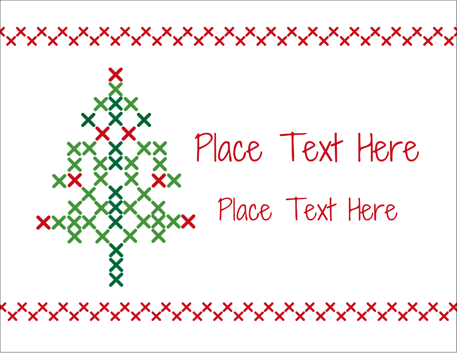 "5½"" x 4¼"" Note Card - Cross Stitch Tree"