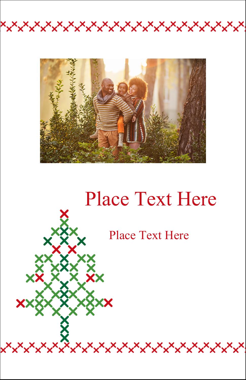 """5"""" x 8½"""" Half Fold Card - Cross Stitch Tree"""
