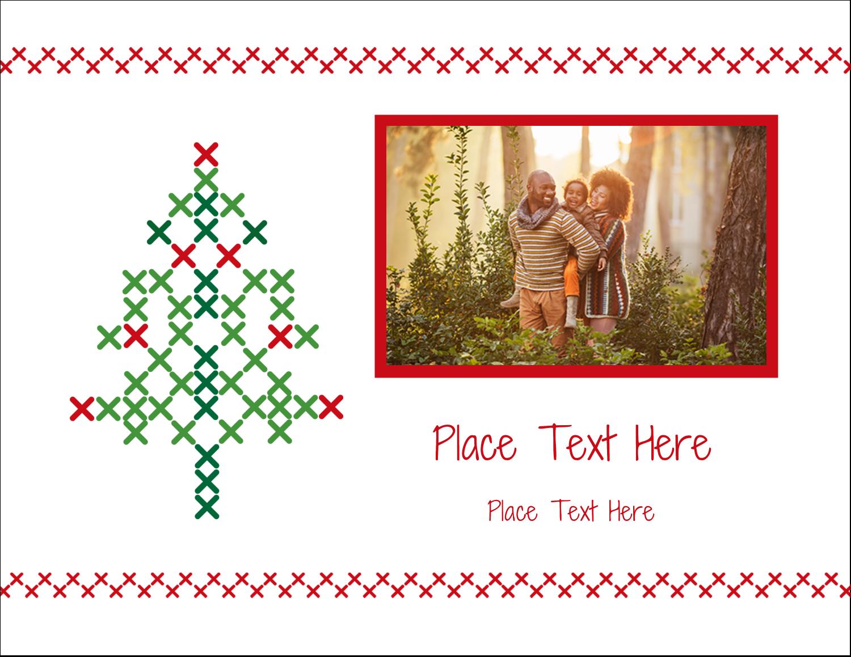"5½"" x 4¼"" Note Card - Cross Stitch Tree"