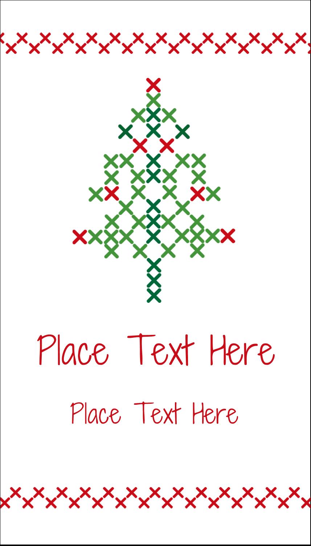 "3½"" x 2"" Business Card - Cross Stitch Tree"