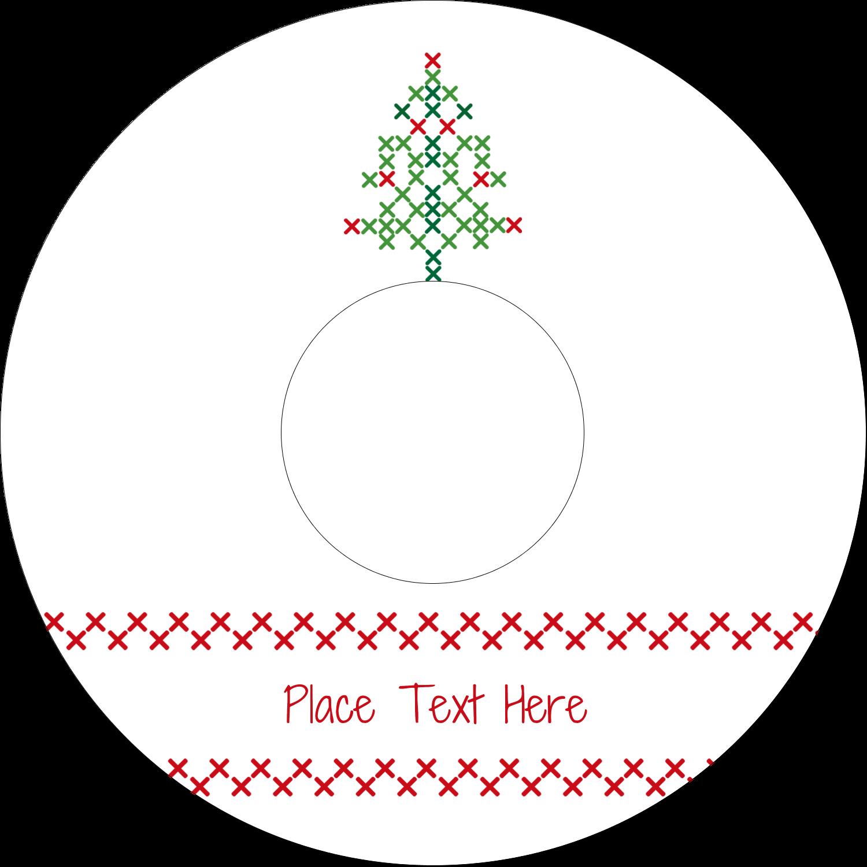 "4.65"" CD-DVD Label - Cross Stitch Tree"