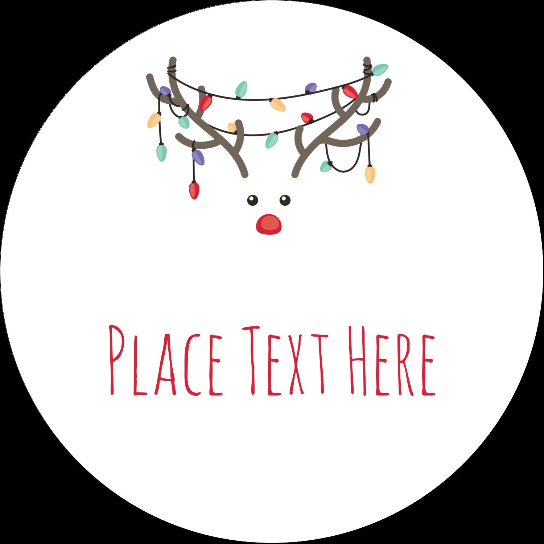 "1½"" Round Label - Reindeer Antler Lights"