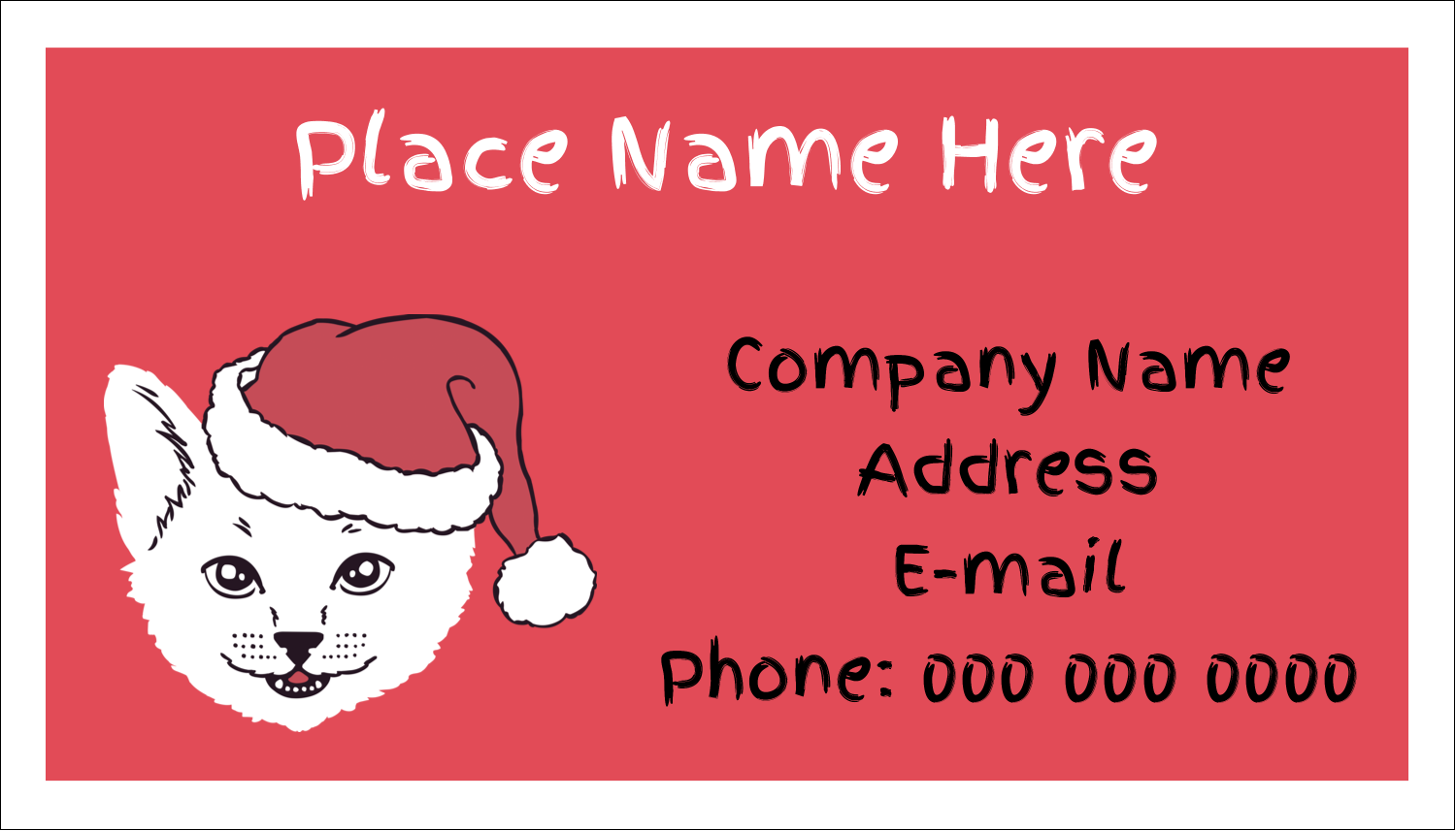 "2"" x 3½"" Business Card - Catmas Meowy"