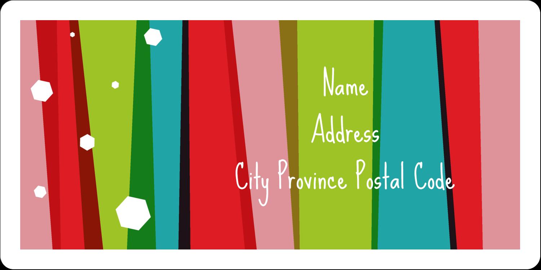 "2"" x 4"" Shipping Label - Christmas Retro Stripe"