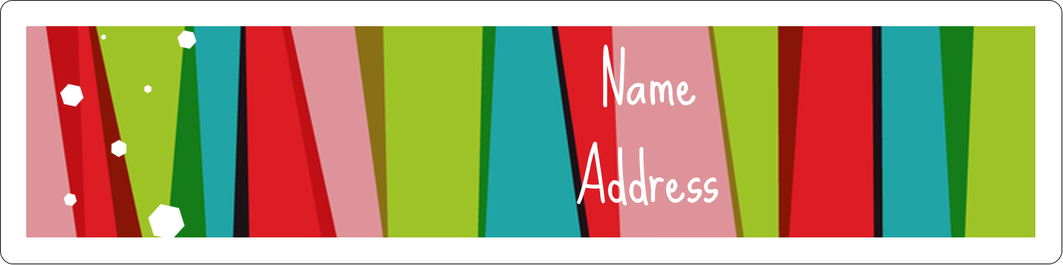 "1"" x 4"" Address Label - Christmas Retro Stripe"