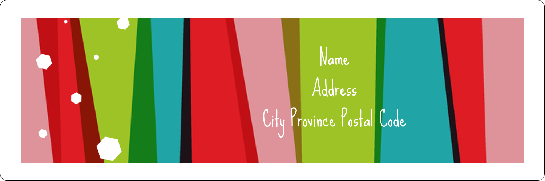 "1⅓"" x 4"" Address Label - Christmas Retro Stripe"