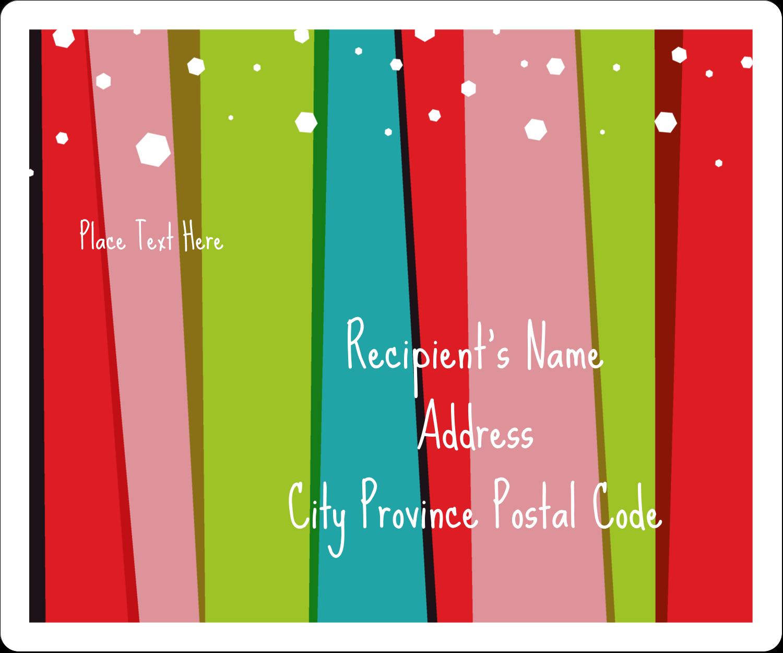 "3⅓"" x 4"" Shipping Label - Christmas Retro Stripe"