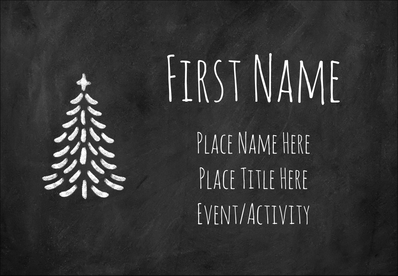 "3⅜"" x 2⅓"" Name Badge - Chalkboard Tree"