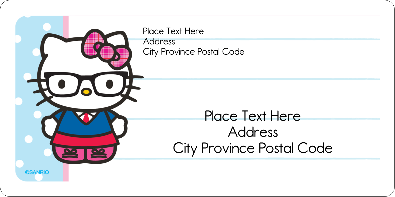 "2"" x 4"" Shipping Label - Hello Kitty with Glasses"