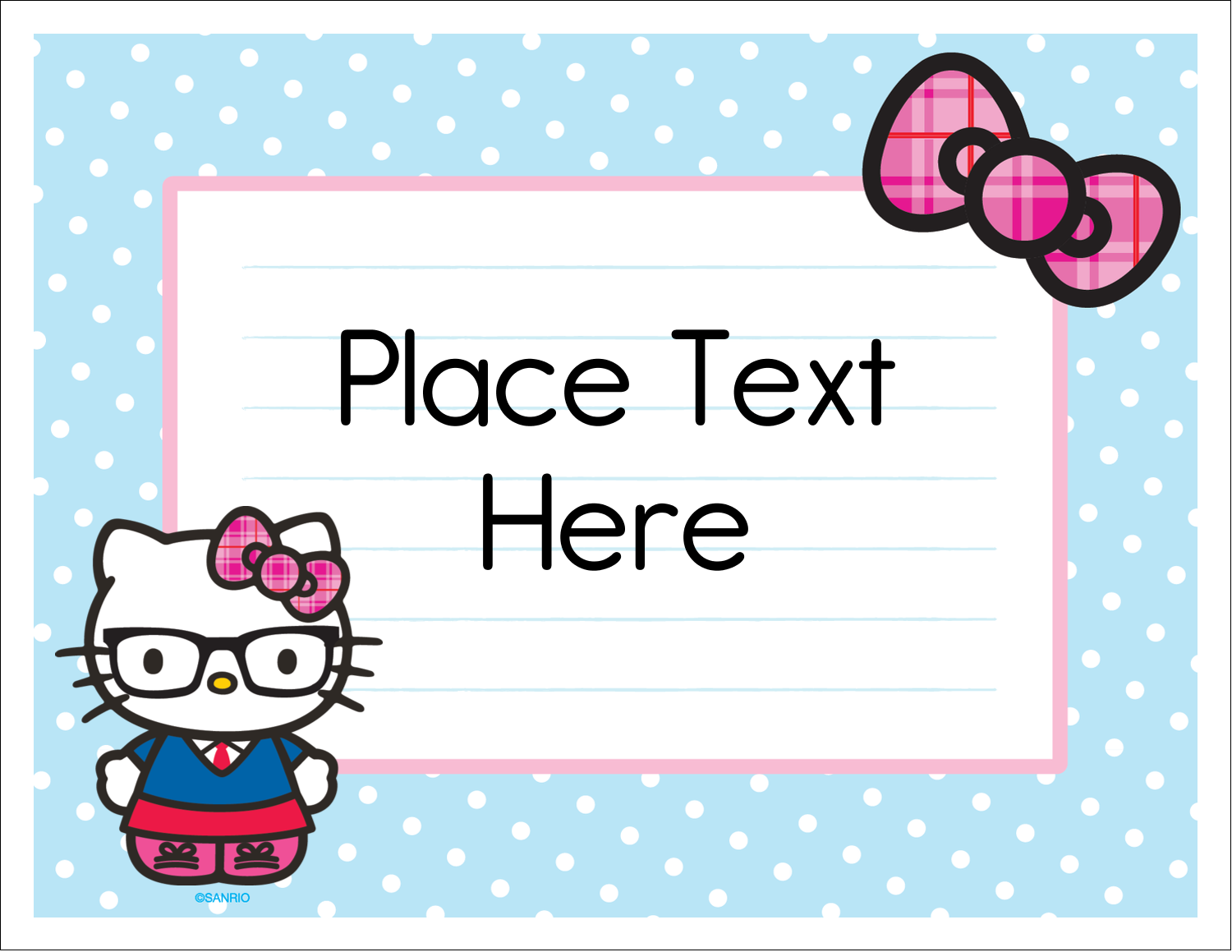 "5½"" x 4¼"" Note Card - Hello Kitty with Glasses"