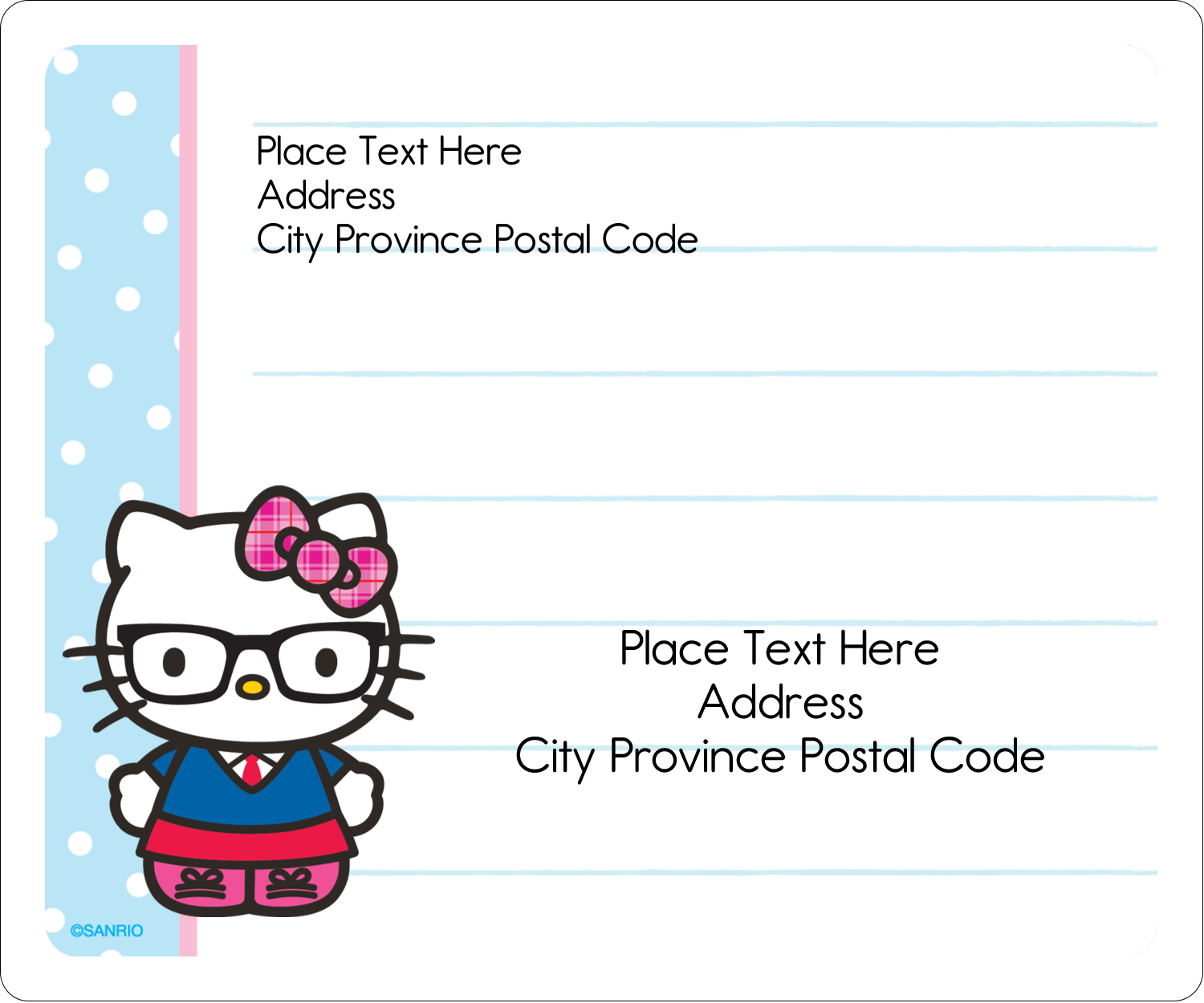 "3⅓"" x 4"" Shipping Label - Hello Kitty with Glasses"
