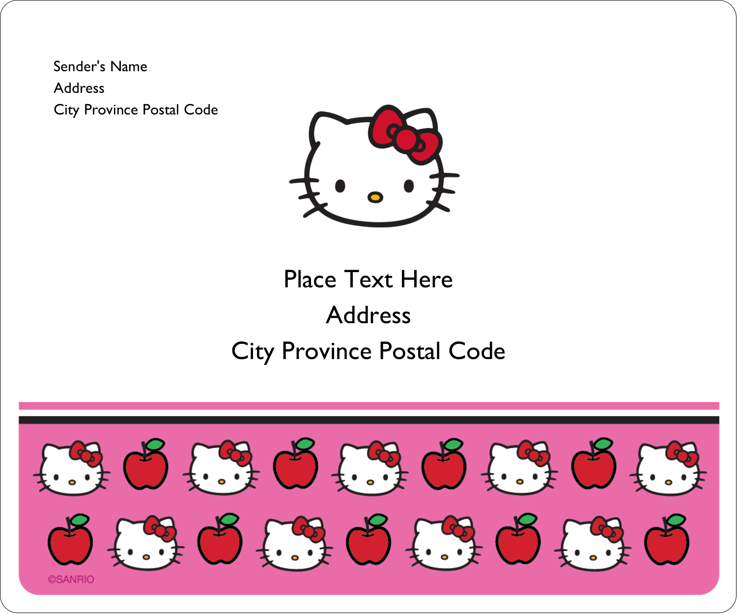 """3⅓"""" x 4"""" Shipping Label - Hello Kitty Loves Apples!"""