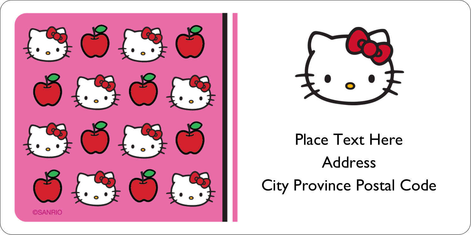 """2"""" x 4"""" Shipping Label - Hello Kitty Loves Apples!"""