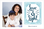 « Love and Light » écrit à la main Cartes de souhaits pliées en deux - gabarit prédéfini. <br/>Utilisez notre logiciel Avery Design & Print Online pour personnaliser facilement la conception.
