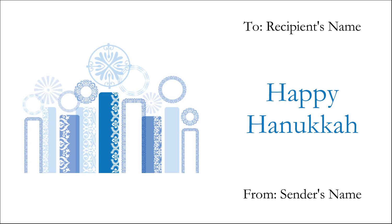 """2"""" x 3½"""" Business Card - Hanukkah Menorah Blue"""