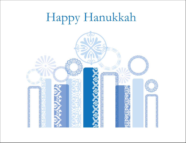 """11"""" x 8½"""" T-Shirt-Tranfers - Hanukkah Menorah Blue"""