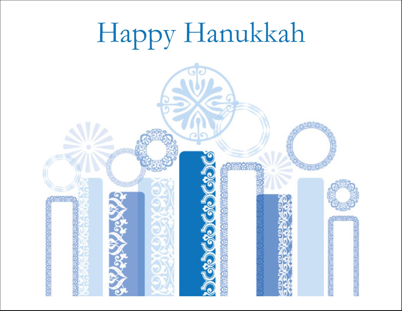 """5½"""" x 4¼"""" Note Card - Hanukkah Menorah Blue"""