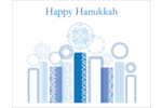Give projects a modern interpretation with pre-designed Hanukkah Menorah Blue templates.