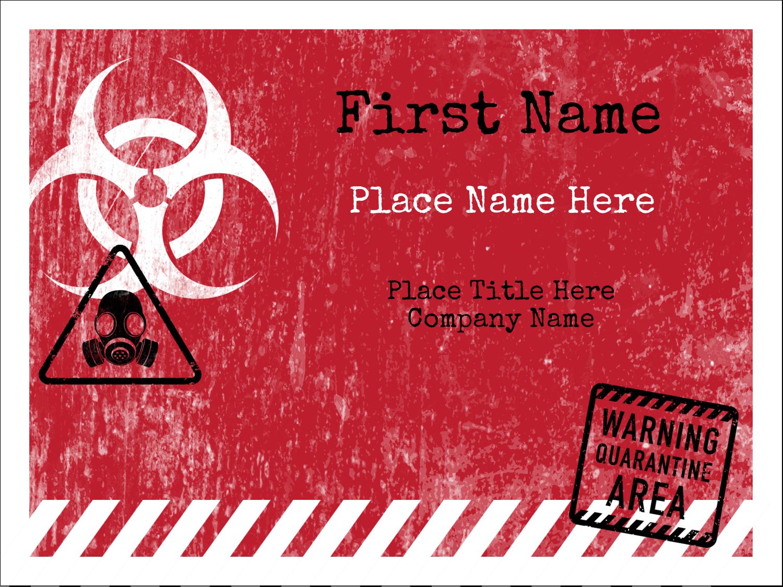 """3"""" x 4"""" Name Tags - Halloween Zombie Apocalypse"""