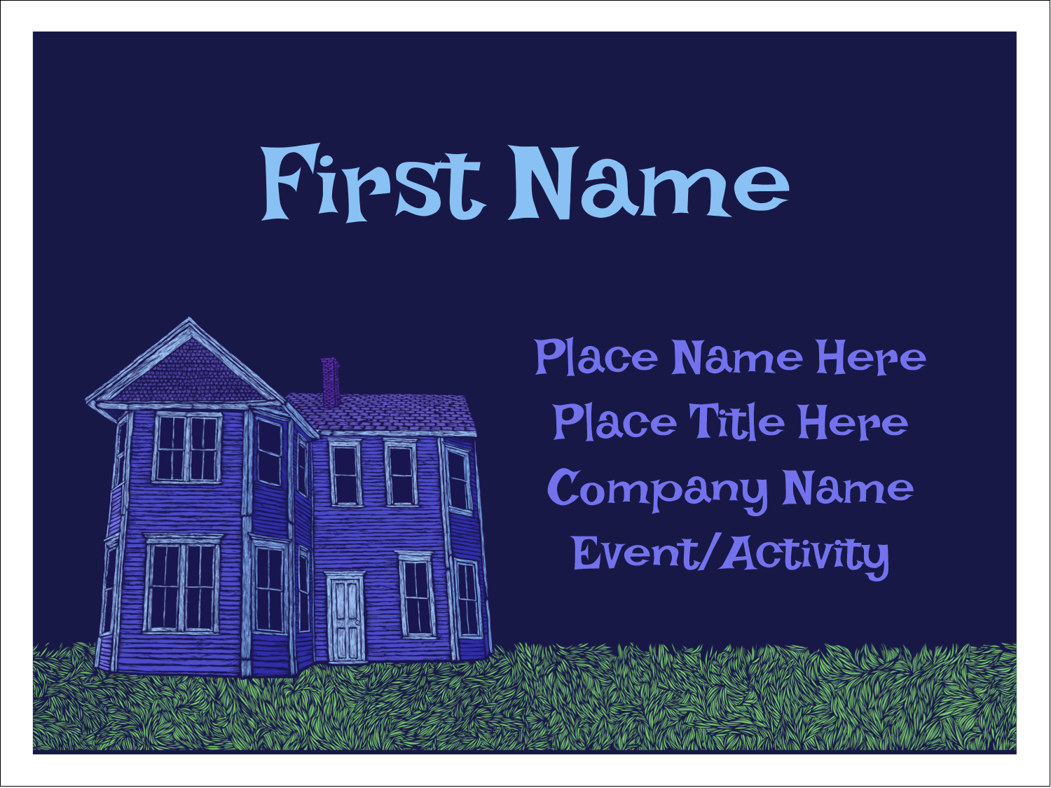 """3"""" x 4"""" Name Tags - Halloween Haunted House Chalk"""