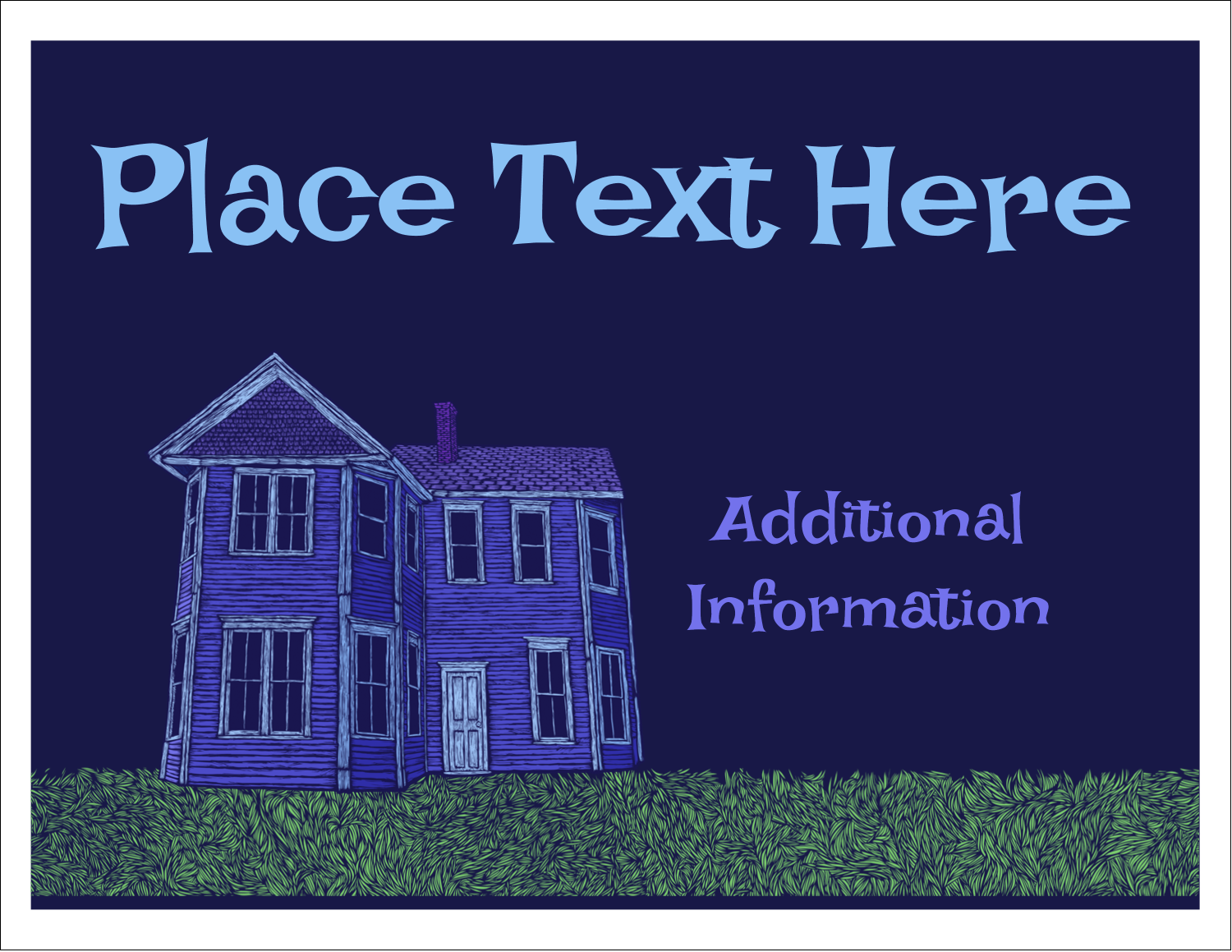 """5½"""" x 4¼"""" Note Card - Halloween Haunted House Chalk"""